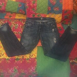 7 For All Mankind Distressed Jeans Straight 27""